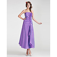Tea-length Organza / Taffeta Bridesmaid Dress A-line / Princess Strapless Plus Size / Petite with Flower(s) / Ruffles / Side Draping