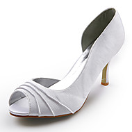 Satin Upper  Stiletto Heel Peep Toe Wedding Bridal Shoes