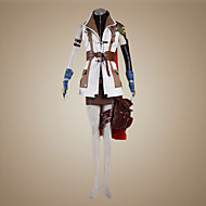 Inspired by Final Fantasy Lightning Video Game Cosplay Costumes Cosplay Suits Patchwork White / Brown Long SleeveCoat / Top / Skirt /