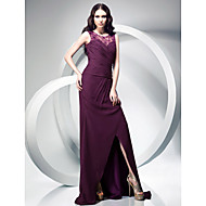 Formal Evening / Military Ball Dress - Plus Size / Petite Sheath/Column Jewel Sweep/Brush Train Chiffon