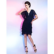 Sheath/Column V-neck Knee-length Chiffon Cocktail Dress