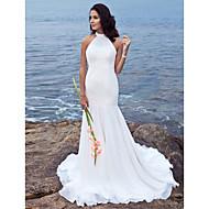 Lanting Bride Trumpet/Mermaid Petite / Plus Sizes Wedding Dress-Sweep/Brush Train Halter Chiffon