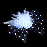 Gorgeous Tulle And Feather Flower Girl Headpiece With Rosette