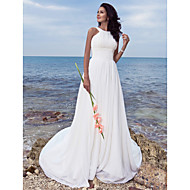 Sheath/Column Plus Sizes Wedding Dress - Ivory Sweep/Brush Train Jewel Chiffon