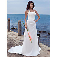 Lanting Bride Sheath/Column Petite / Plus Sizes Wedding Dress-Court Train Halter Chiffon