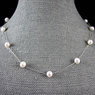 7-8mm natürlichen Süßwasser-Perlenkette mit Silber-Kette - 18 Zoll (weitere Farben)