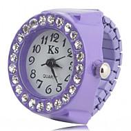 女性用 ファッションウォッチ リングウォッチ リストウォッチ ダミー ダイアモンド 腕時計 日本産 模造ダイヤモンド クォーツ Plastic バンド ブラック 白 ピンク