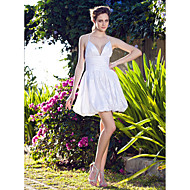 A-line Plus Sizes Wedding Dress - White Short/Mini V-neck Taffeta