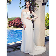 Lanting Sweetheart Neck Lace And Chiffon Wedding Dress With Sweep/Brush Train