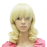 capless middels lang syntetisk blonde krøllete parykk