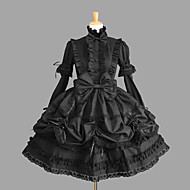 Langarm knielangen schwarzen Baumwoll-Gothic Lolita Kleid mit Spitze