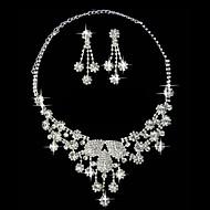 Silver Rhinestone Two Piece Graduated Flower Design Ladies' Wedding Jewelry Set(45 cm)
