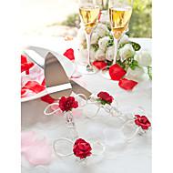 Serving Sets Wedding Cake Knife Crystal Red Roses  Cake Serving Set