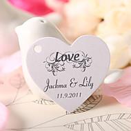 gepersonaliseerde hartvormige gunste tag - liefde (set van 60)