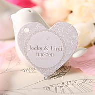 gepersonaliseerde hartvormige gunste tag - bloemenprints (set van 60)