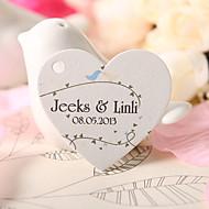 personalizado coração tag favor em forma - passarinhos (conjunto de 60)
