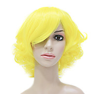 Capless High Quality Synthetic Fashion Yellow Short Curly Party Wig
