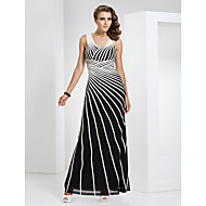 Formal Evening / Military Ball Dress - Elegant Sheath / Column V-neck Floor-length Tulle / Stretch Satin with