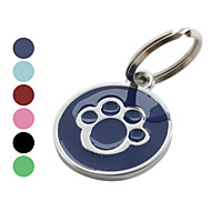 Dog Tag Footprint/Paw Red / Black / Green / Blue / Rose Stainless Steel