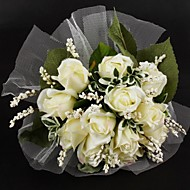 "Wedding Flowers Round Roses Bouquets Wedding Satin / Tulle Ivory 11.02""(Approx.28cm)"
