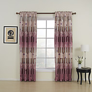 Two Panels Floral  Botanical Purple Bedroom Polyester Blackout Curtains Drapes