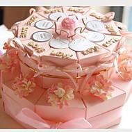 rózsaszínű kártya papír esküvői mellett dobozokat szalagokkal és virágokkal szett (20)