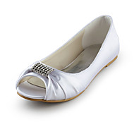 Satin Flat Heel Peep Toe With Rhinestone Wedding / Party Shoes (More Colors)