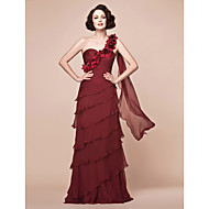 A-line Plus Sizes Mother of the Bride Dress - Burgundy Floor-length Sleeveless Chiffon
