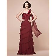 A-line Plus Sizes / Petite Mother of the Bride Dress - Burgundy Floor-length Sleeveless Chiffon
