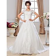 Lanting Bride® A-linje Petit / Plus Størrelser Brudekjole - Klassisk og tidsløs Efterår 2013 Kapelslæb Løs skulder Organza med
