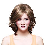 senza cappuccio corto di alta qualità parrucca sintetica ondulata