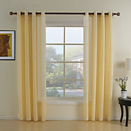 Two Panels Neoclassical Geometric Yellow Living Room Polyester Sheer Curtains Shades