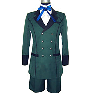 Inspired by Black Butler Ciel Phantomhive Anime Cosplay Costumes Cosplay Suits Solid Green Long Sleeve Coat / Shirt / Shorts / Cravat