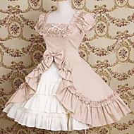 Short Sleeve Knee-length Cotton Bow and Ruffle Princess Lolita Dress