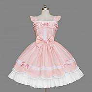 Sleeveless Knee-length Pink Cotton White Trim Sweet Lolita Dress
