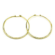 Elegant Brass with Rhinestone Round Hoop Earrings(More Colors)
