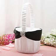 cesta de flores de raso blanco con diamantes de imitación de flores niña de las flores cesta