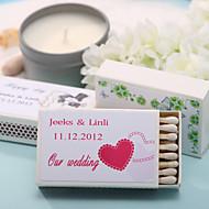 décoration de mariage boîtes d'allumettes personnalisés - doubles coeurs roses (jeu de 12)