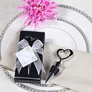Verchroomd hart flessenstop in geschenkverpakking