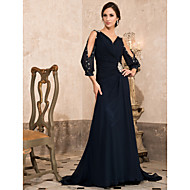 TS Couture Formal Evening Military Ball Dress - Open Back A-line Princess V-neck Sweep / Brush Train Chiffon withBeading Crystal