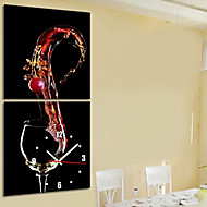 Modern Style Wine Theme Wall Clock in Canvas Set of 2