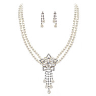Ivory Pearl Two Piece Vintage Ladies Necklace and Earrings Jewelry Set (38 cm)