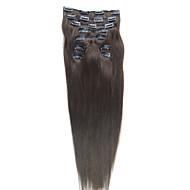 24 polegadas 9 pcs 100% cabelo indiano sedosa clipe em linha reta na extensão do cabelo 26 cores para escolher