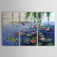 pintado a mano paisaje pintura al óleo con marco estirado - juego de 3
