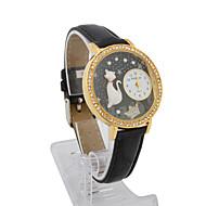 Women's Leather Quartz Movement Glass Round Shape with Rhinestone Dress Watch