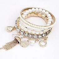 Frauen basic perlen gem geschichteten Armband