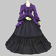 Long Sleeve Floor-length Purple Cotton Classic Lolita Dress
