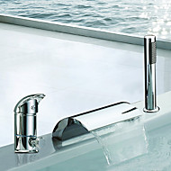 Two Handles Waterfall Contemporary Widespread Chrome Finish Tub Faucet With Handshower