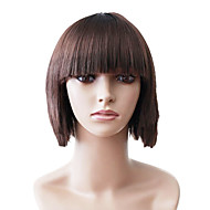 Capless Short Brown Straight High Quality Synthetic Japanese Kanekalon Parties Wigs