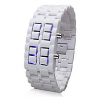 זוג שעוני יד בסגנון LED כחול חסרי פנים (שחור ולבן)